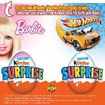 Barbie and  Hotwheel Kinder